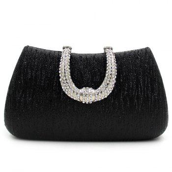 Rhinestone PU Leather Evening Clutch Bag - BLACK BLACK