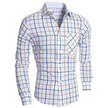 Button Front Plaid Shirt - YELLOW YELLOW