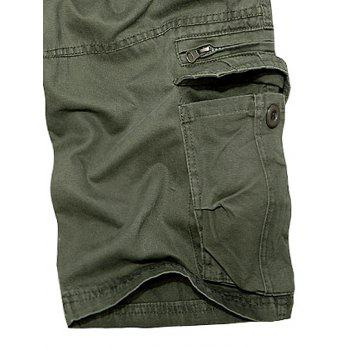 Multi Pockets Staright Leg Cotton Cargo Shorts - ARMY GREEN 33