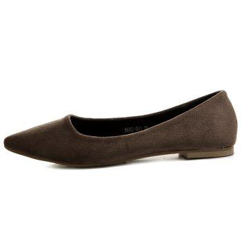 Slip On Pointed Toe Flat Shoes - DEEP BROWN 38
