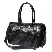 Faux Leather Woven Weekender Bag