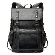 Faux Leather Dual Buckle Straps Backpack