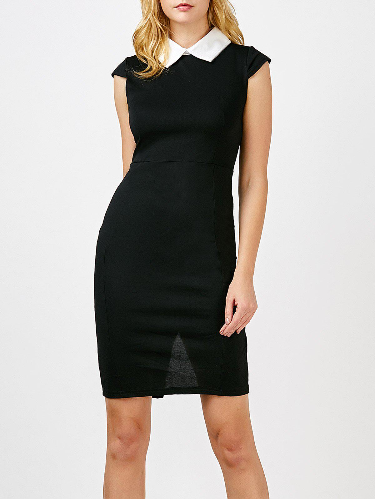 Flat Collar Back Slit Mini Sheath Bodycon Dress - BLACK 2XL