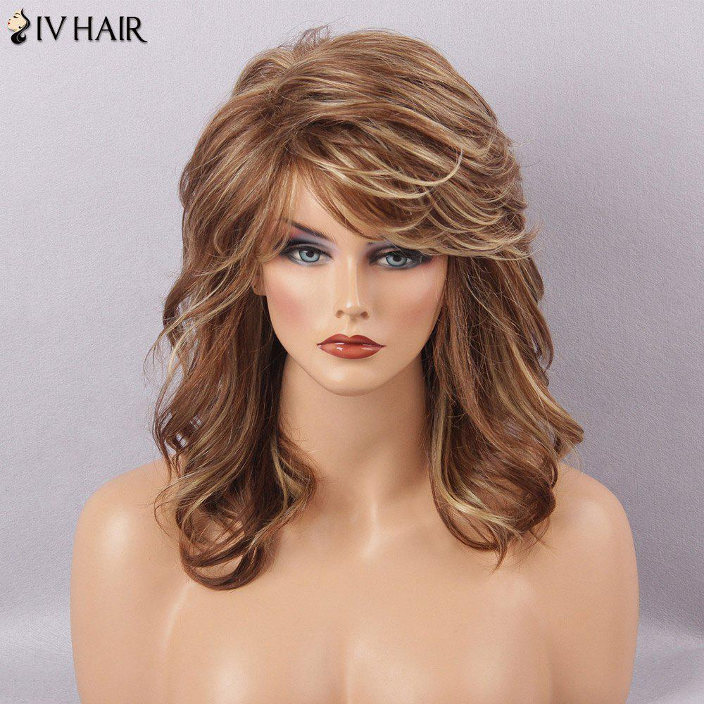 Siv Hair Long Fluffy Curly Sided Bang Human Hair Wig - BROWN BLONDE MIXED H 3