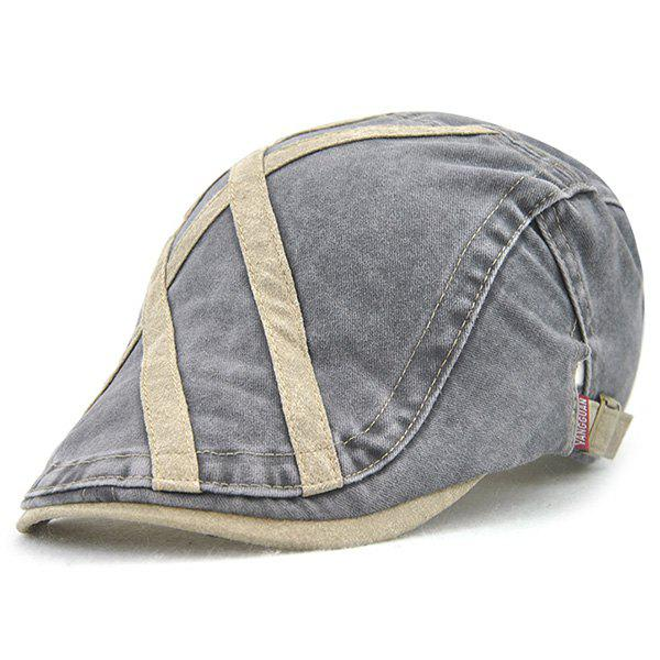 Sewing Thread Cross Stripes Cabbie Hat - KHAKI