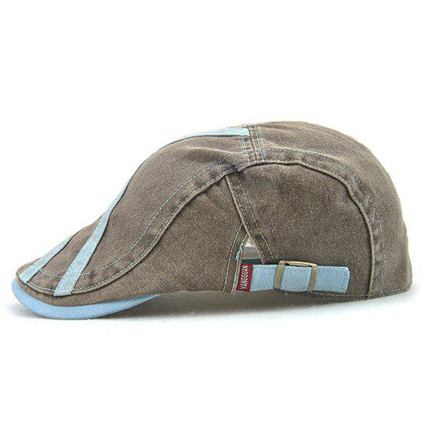 Sewing Thread Cross Stripes Cabbie Hat - CLOUDY