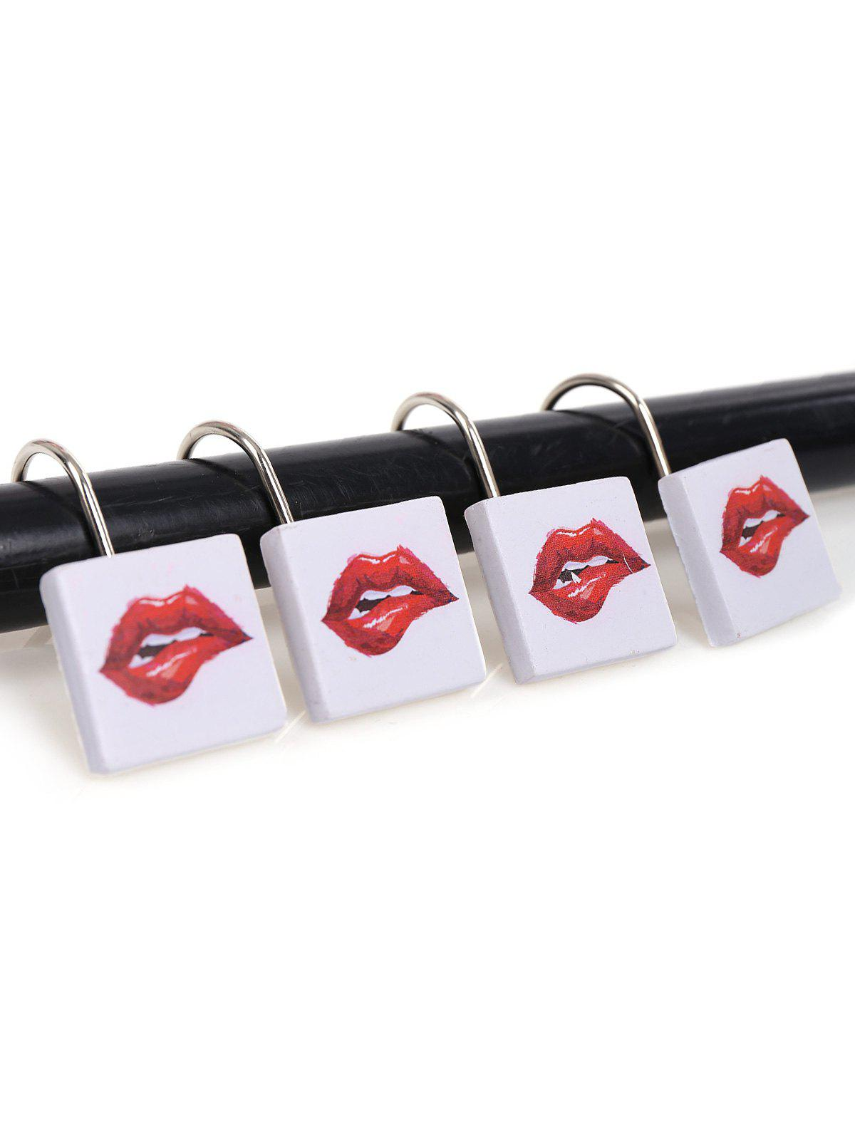 12Pcs/Set Lip Pattern Shower Curtain Hooks - RED/WHITE