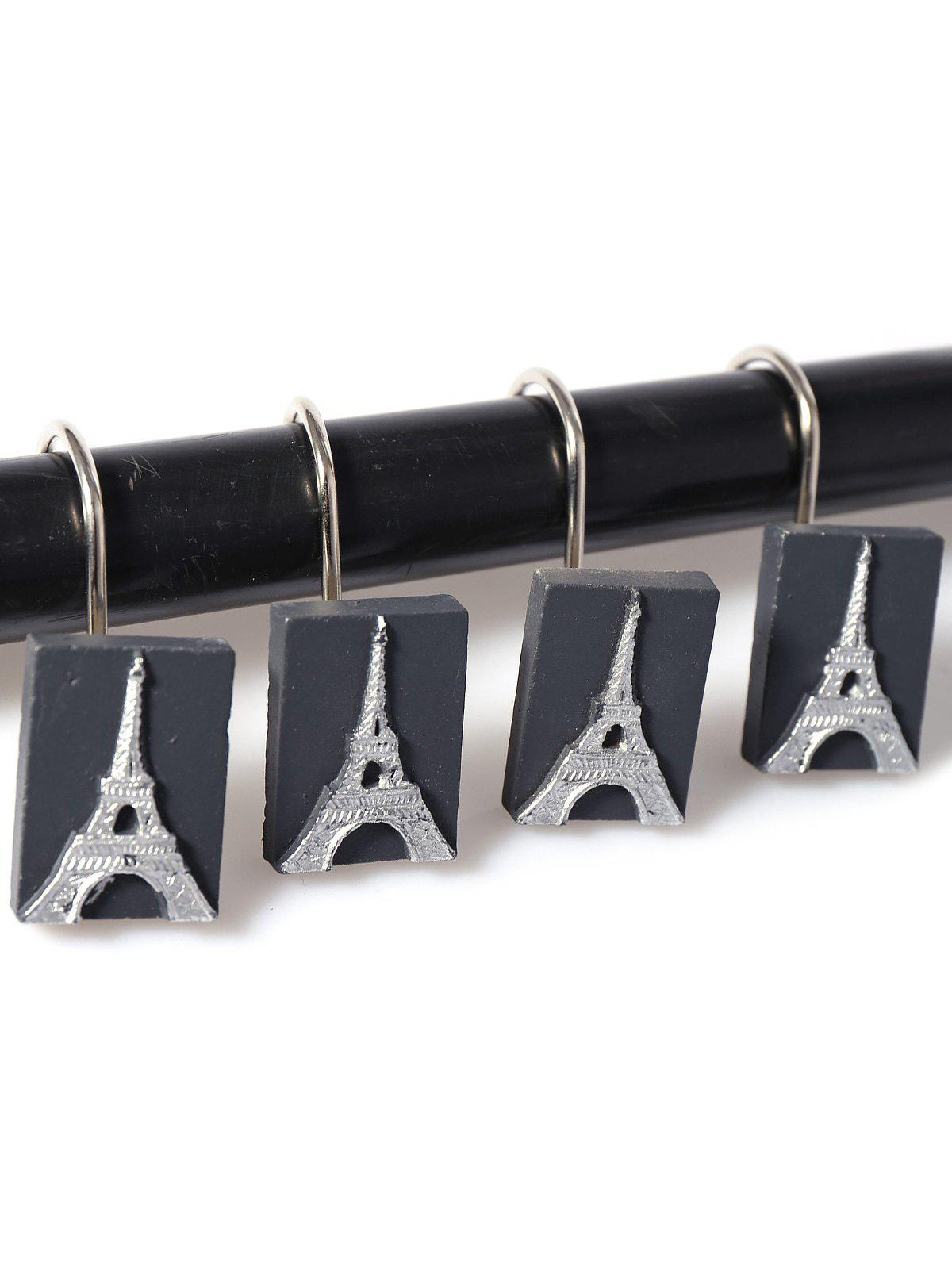 12Pcs Tower Pattern Shower Curtain Hooks - SILVER/BLACK