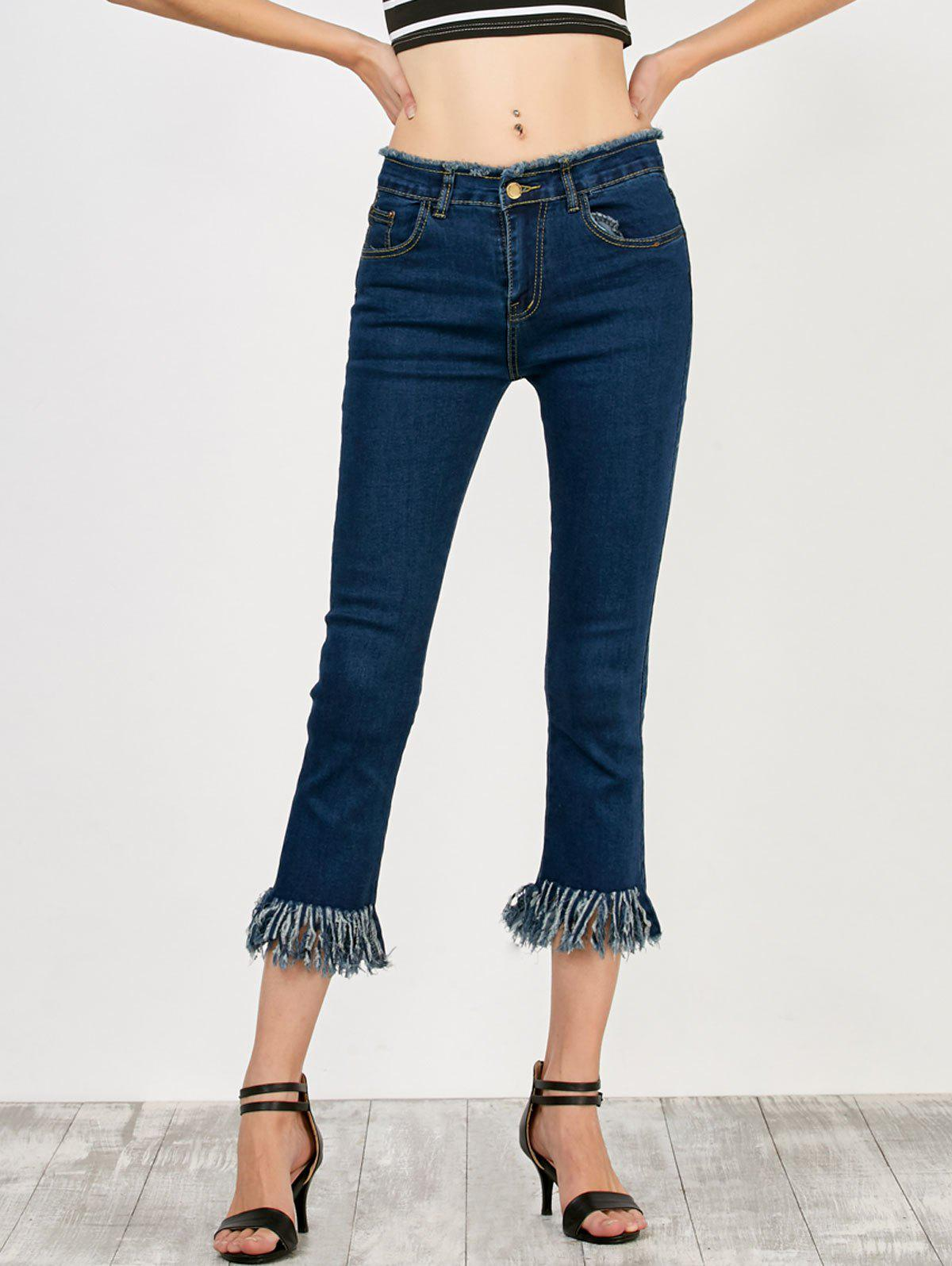 Fringed High Rise Cropped Jeans - DEEP BLUE XL