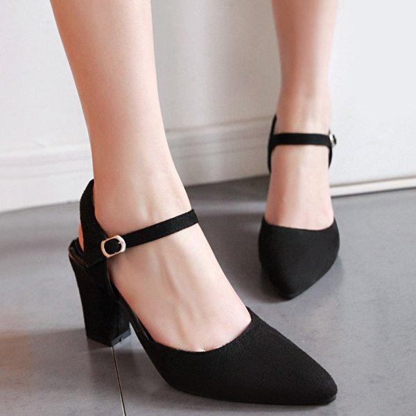 Block Heel Slingback Pumps - BLACK 37