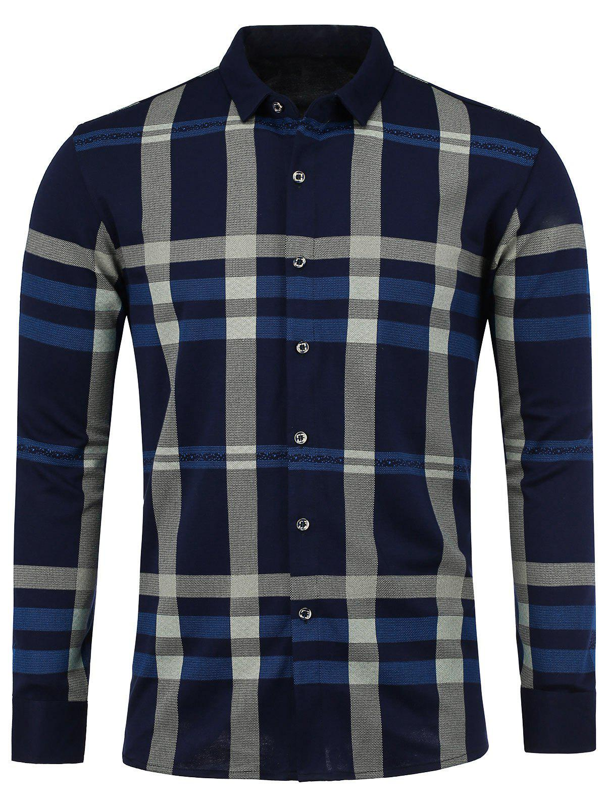 Long Sleeve Plaid Shirt - CADETBLUE L