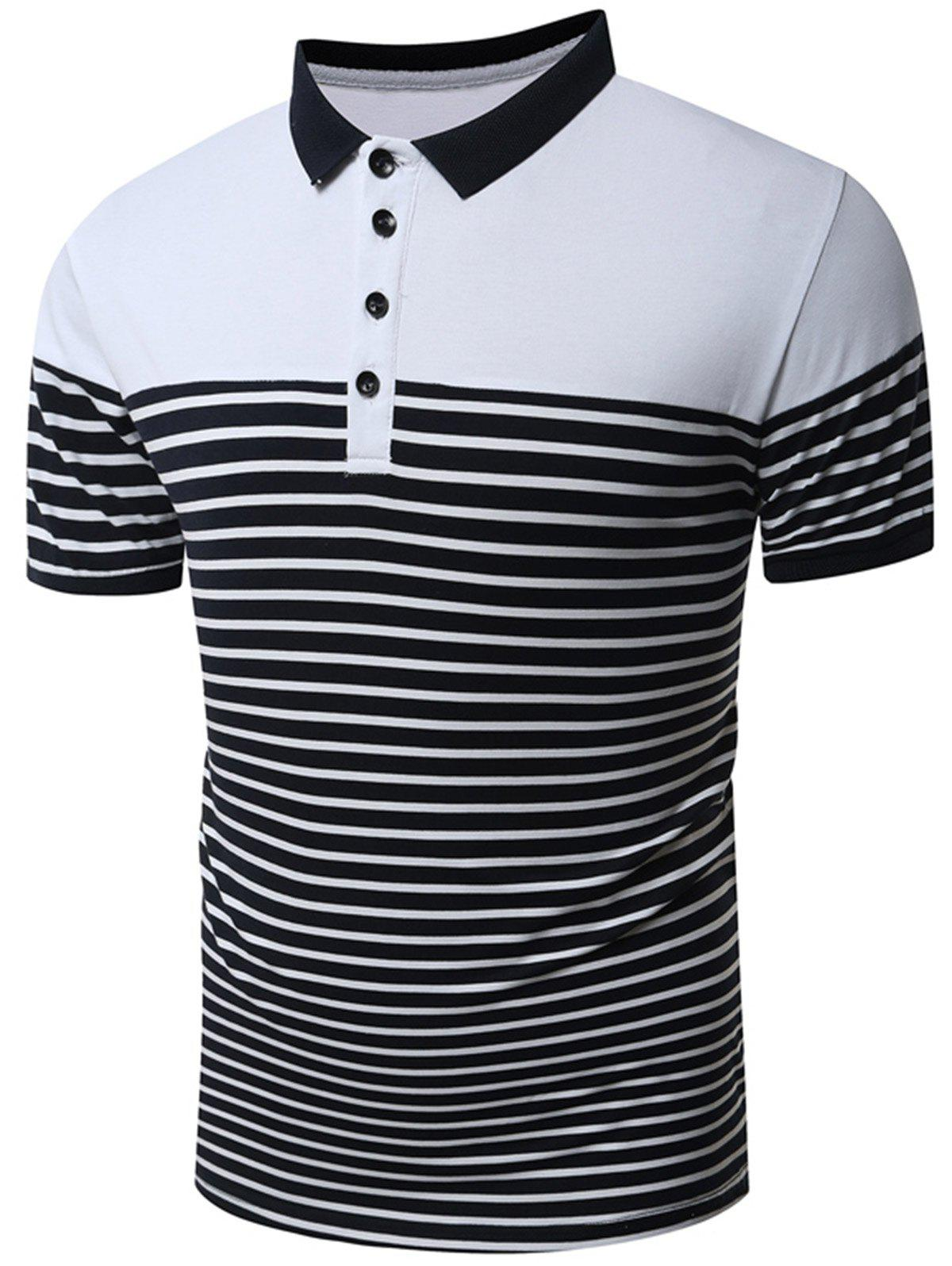 Slim Fit Stripe Polo Shirt - WHITE L