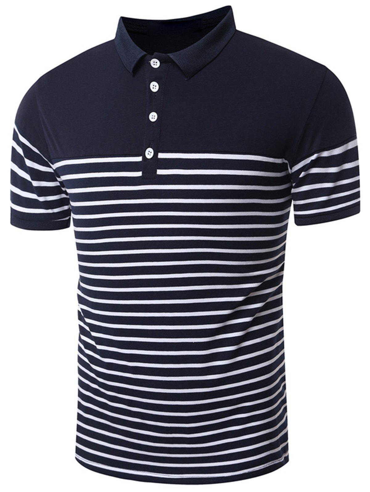 Slim Fit Stripe Polo Shirt - DEEP BLUE XL