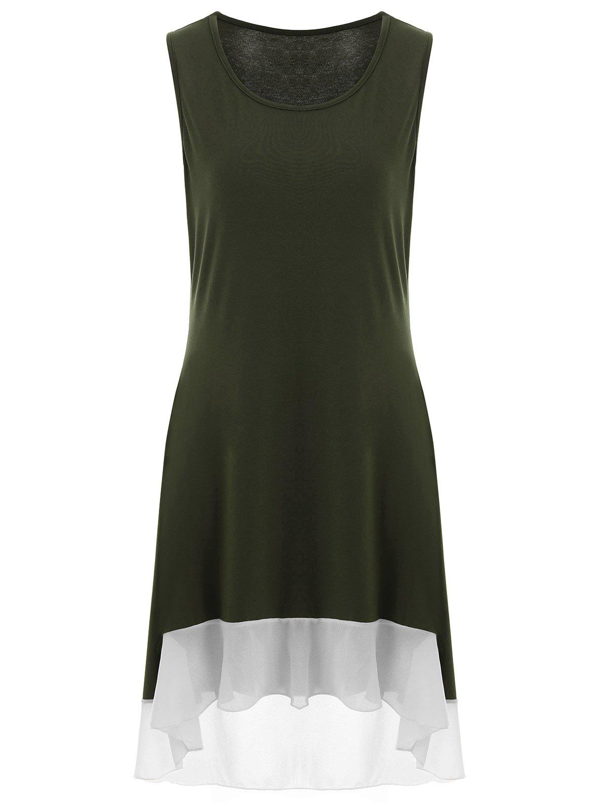 High Low sans manches Plus Size Dress - vert foncé XL