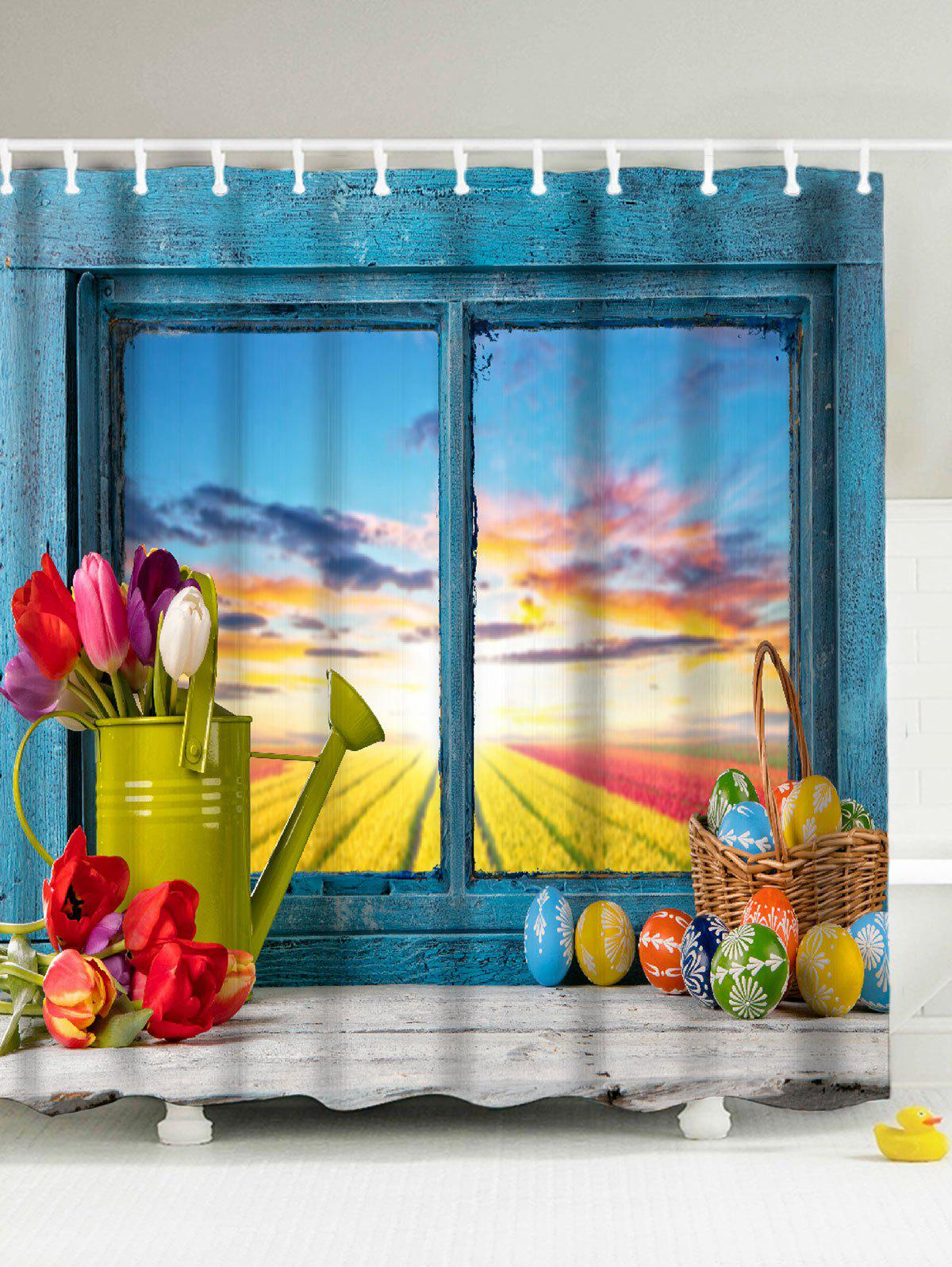 Easter Mildew Resistant Polyester Fabric Shower Curtain beach mildew resistant waterproof shower curtain