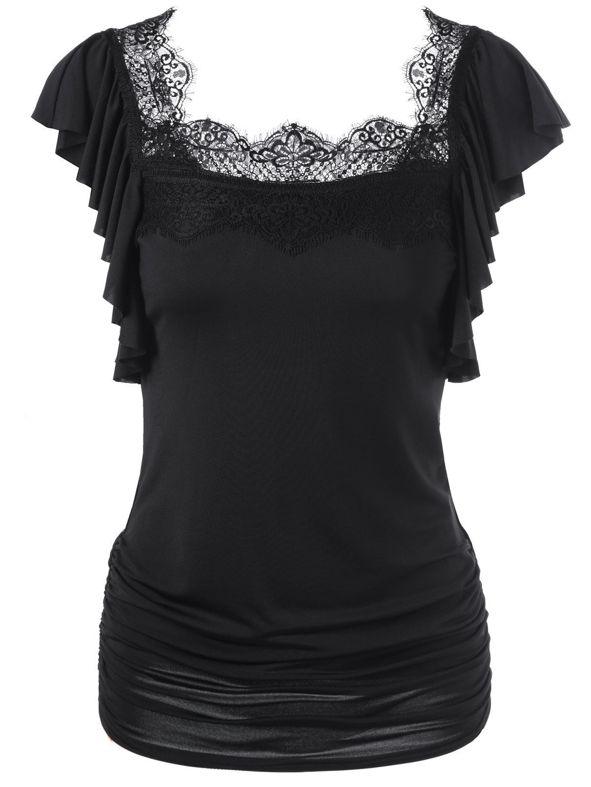 Black t shirt with lace - Butterfly Sleeve Lace Trim Ruched T Shirt Black M