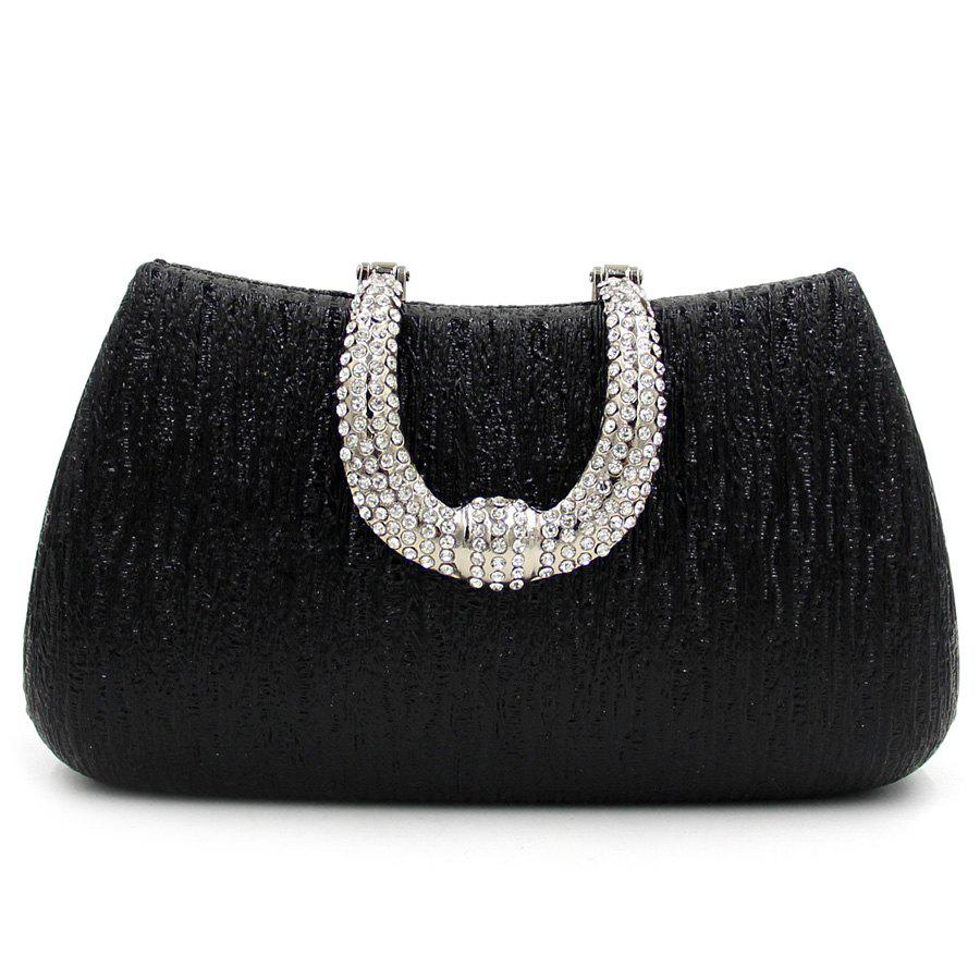 Rhinestone PU Leather Evening Clutch Bag - BLACK