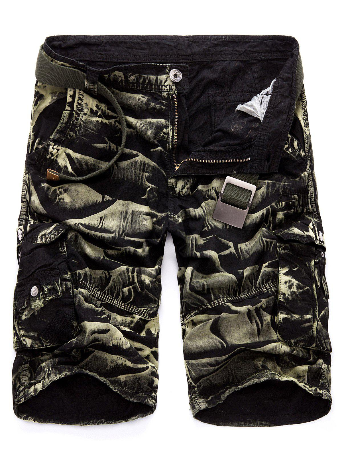 Drawstring Design Multi Pockets Cargo Shorts - BLACK/GREEN 34