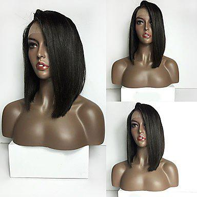 Long Side Parting Straight Lace Front Synthetic Wig - BLACK