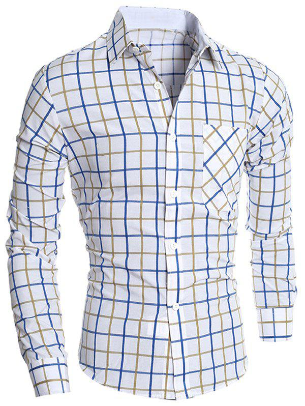 Button Front Plaid Shirt - YELLOW 2XL