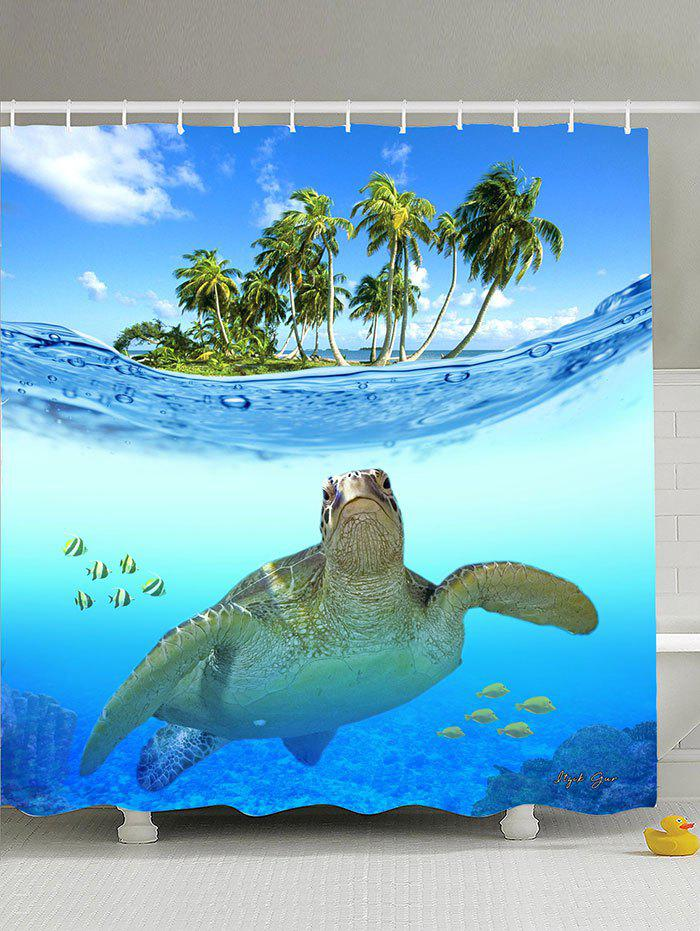 Beach Turtle Printing Shower Curtain with Hooks - LAKE BLUE 180*180CM