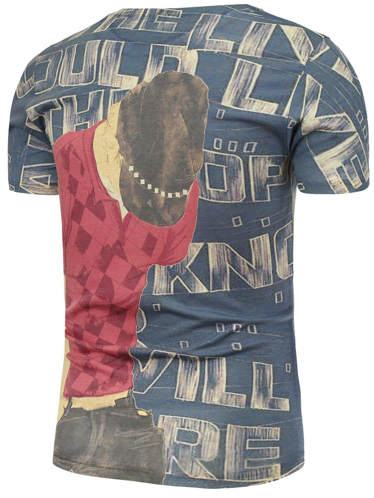 Letters and Male Pattern T-Shirt - COLORMIX L