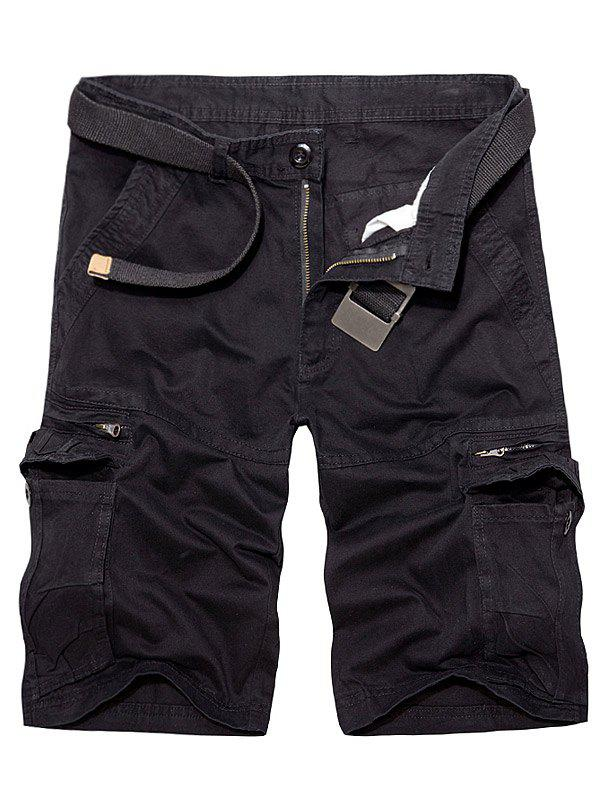 Multi Pockets Staright Leg Cotton Cargo Shorts - BLACK 36