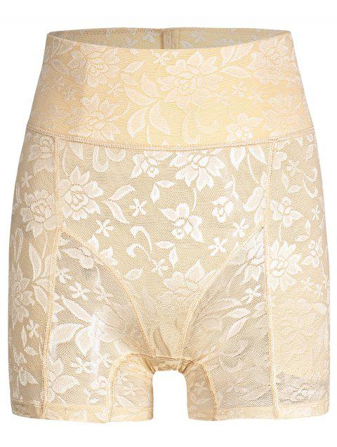 High Waisted Lace Panties Boyshorts - YELLOWISH PINK XL