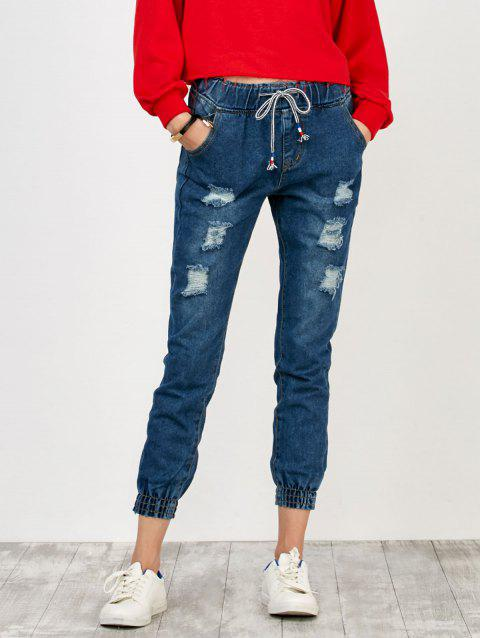 High Rise Distressed Drawstring Jeans - DEEP BLUE M