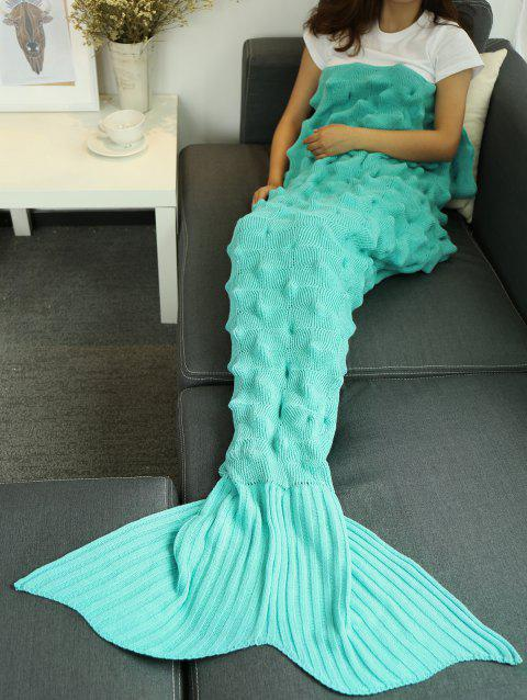 Yarn Crochet Throw Bed Sofa Mermaid Tail Blanket - LAKE BLUE 150*90CM