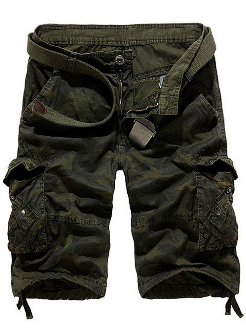 Camouflage Stud Embellished Cargo Shorts - ARMY GREEN 36