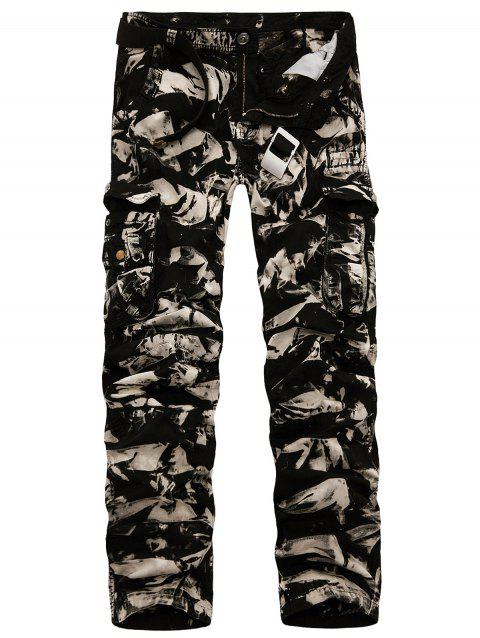 Multi Pockets Zipper Fly Slimming Cargo Pants - BLACK CAMOUFLAGE 30