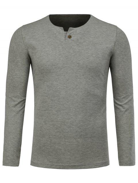 Notch Neck Long Sleeve Tee - GRAY M