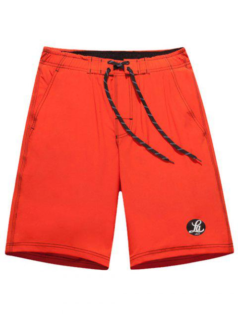 Graphic Print Tie Front Board Shorts - JACINTH L