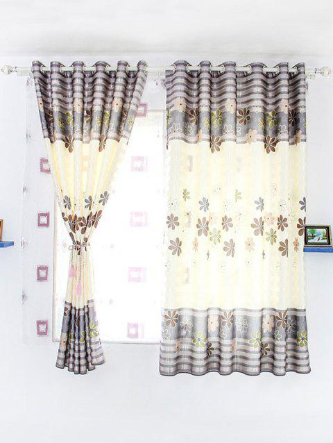 Floral Print Shading Blackout Curtain For Bedroom - BEIGE 100*200CM