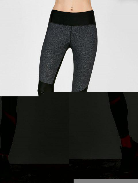 Colorblock Mesh Panel Leggings - SMOKY GRAY S