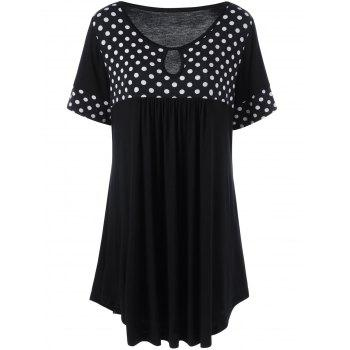 Keyhole Neck Polka Dot Plus Size T-Shirt