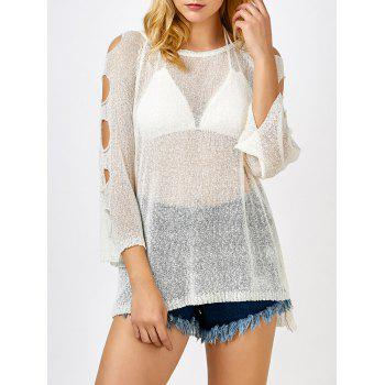 Cold Shoulder Tunic Sheer Swimsuit Cover Up