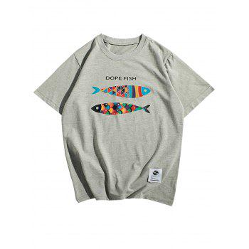 Short Sleeve Fish Print T-Shirt - GRAY XL