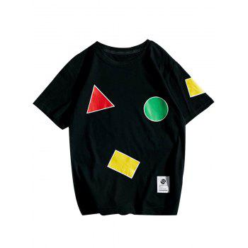 Crew Neck Geometric Pattern T-Shirt - BLACK BLACK