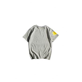Crew Neck Geometric Pattern T-Shirt - GRAY GRAY
