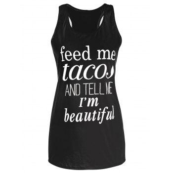Feed Me Tacos Graphic Long Tank Top
