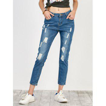 Distressed High Rise Jeans with Pockets