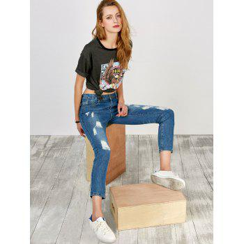 Distressed High Rise Jeans with Pockets - BLUE M