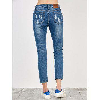 Distressed High Rise Jeans with Pockets - L L