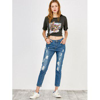 Distressed High Rise Jeans with Pockets - BLUE BLUE