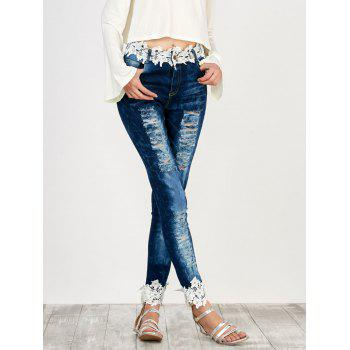 Floral Lace Panel Distressed Jeans