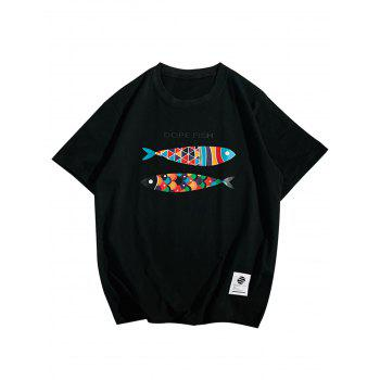 Short Sleeve Fish Print T-Shirt - BLACK L
