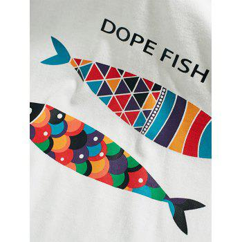 Short Sleeve Fish Print T-Shirt - WHITE L