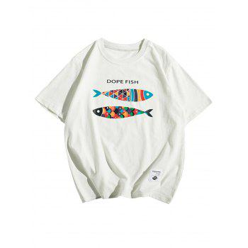 Short Sleeve Fish Print T-Shirt
